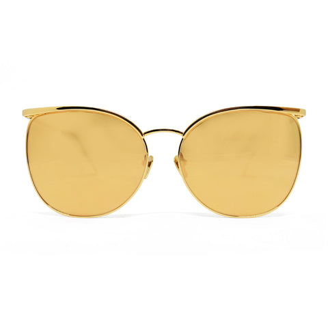 Linda Farrow 509 Browline Sunglasses In Yellow Gold