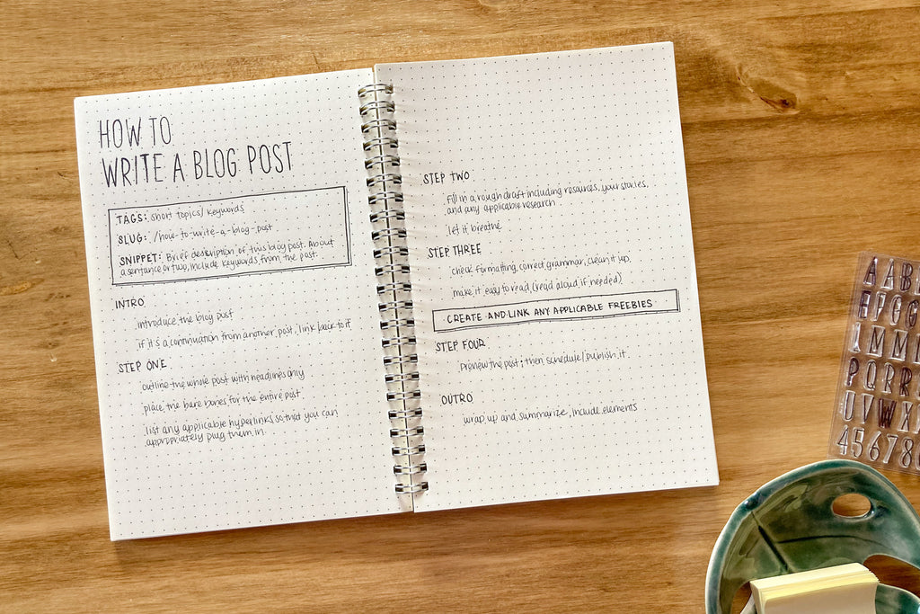 how to write a blog post journal layout