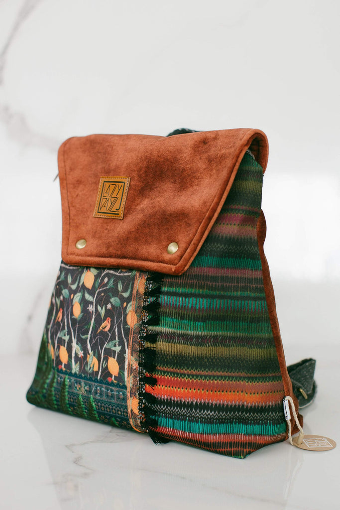 Mini backpack Karpathian brown *vegan, handmade small bag in a pecan velvet colored cup and beautiful patterned designs on the front in a multitude of colors and prints such as flowers, various leaves and colorful threads