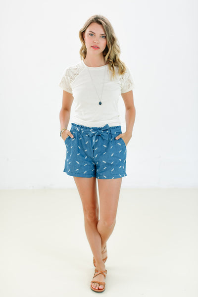 Shorts Feathers Blue Jean