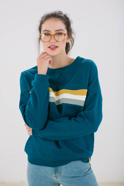 Sweater Stranger stripes petrol colourful stripes