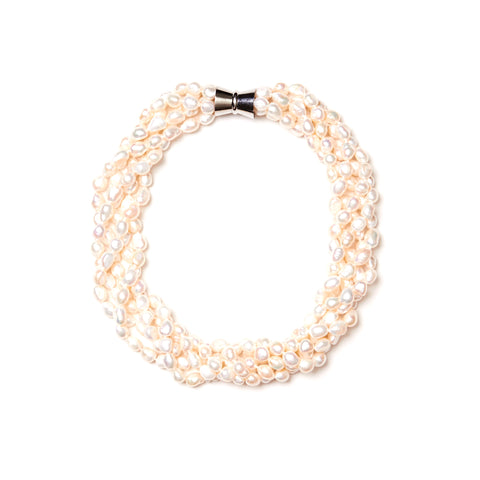 Five Strand Pearl Necklace and Bracelet Set