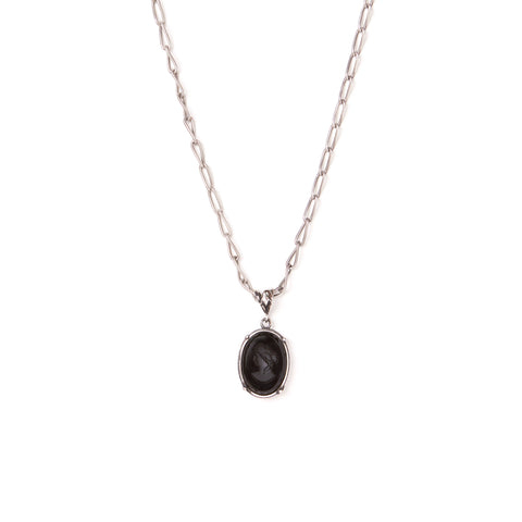 Black Oval Intaglio Necklace