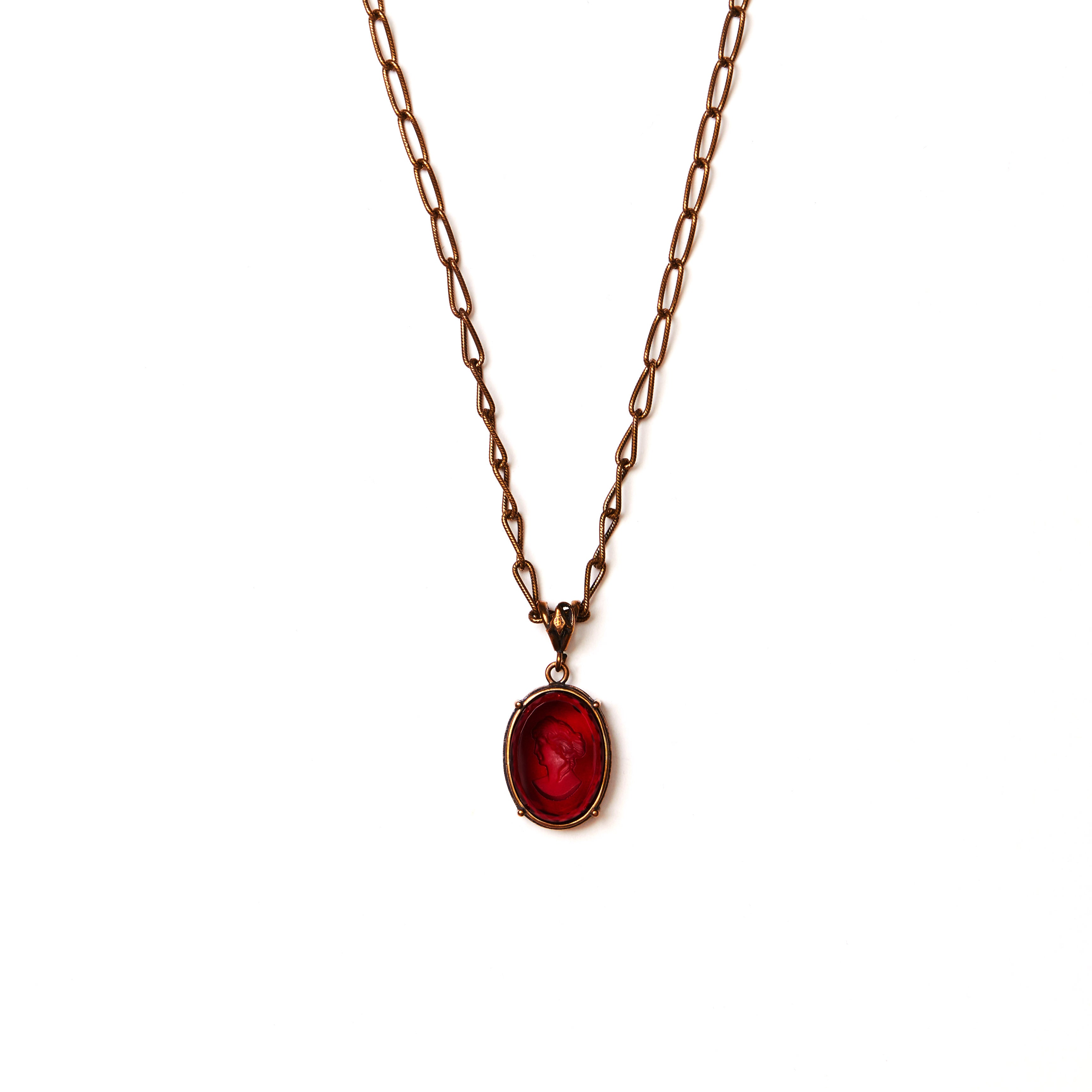 Red Intaglio Bronze Necklace