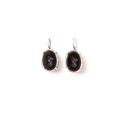 Black Intaglio Earrings