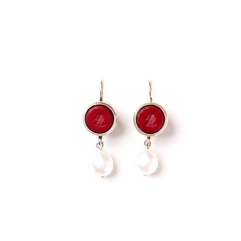 Red Intaglio Drop Pearl Earrings