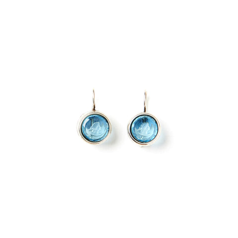 Aqua Intaglio Earrings