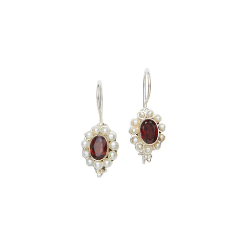Garnet & Seed Pearl Earrings