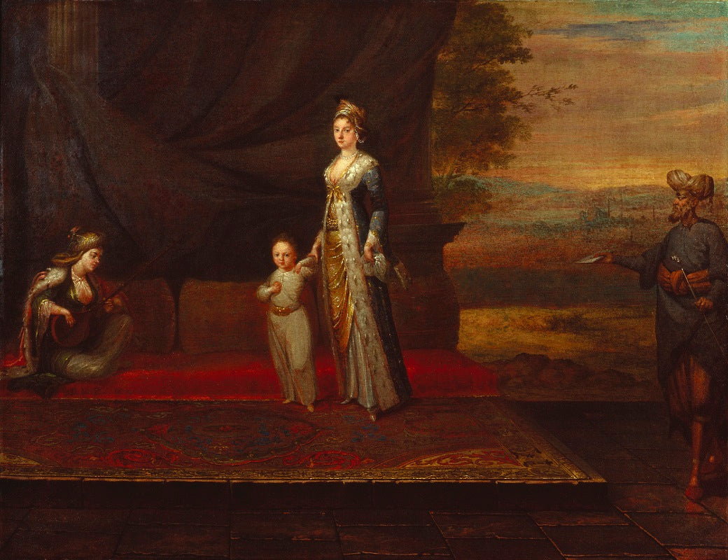Lady Mary Wortley Montagu with her son, Edward Wortley Montagu, and attendants NPG 3924 Portrait Print