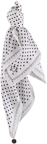 White Polka Dot Silk Scarf