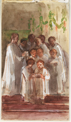 Choir singing on Christmas Day NPG D23146(29) Portrait Print