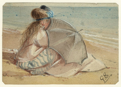 Study of an unknown woman on the beach NPG D23202 Portrait Print