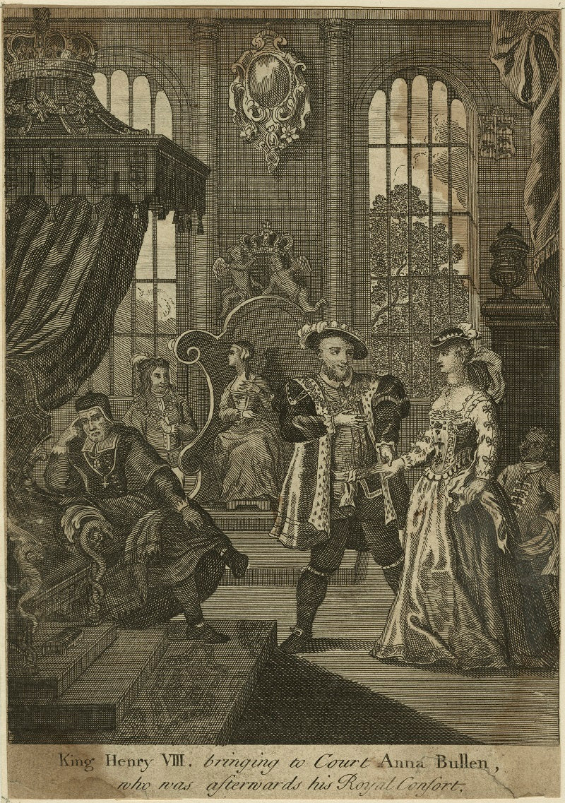 King Henry VIII bringing to Court Anna Boleyn, who was afterwards his Royal Consort (Thomas Wolsey; Henry Algernon Percy, 6th Earl of Northumberland; Katherine of Aragon; King Henry VIII; Anne Boleyn) NPG D24176 Portrait Print