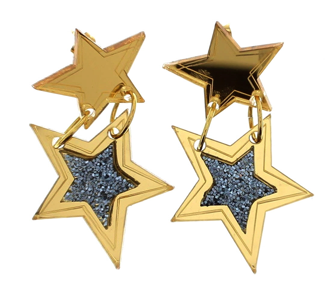 Glitter Stars Drop Earrings