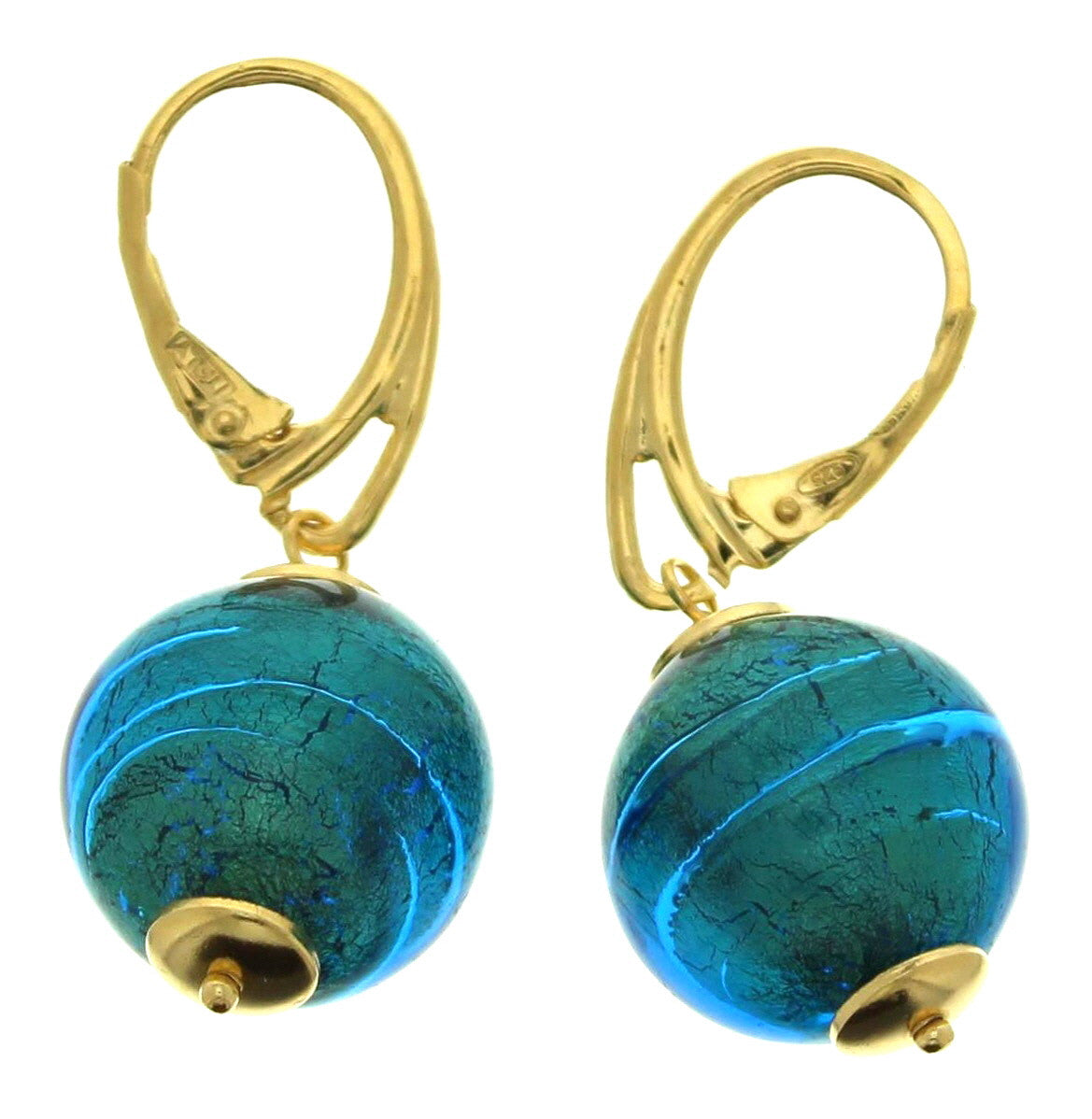 Murano Blue Round Beads Leverback Drop Earrings