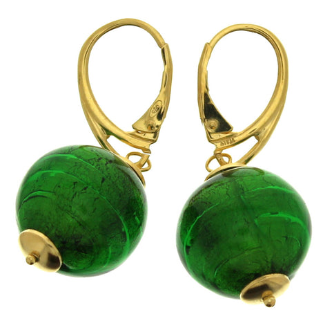 Murano Green Round Beads Leverback Drop Earrings