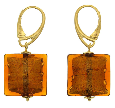 Murano Gold Cushion Square Leverback Earrings