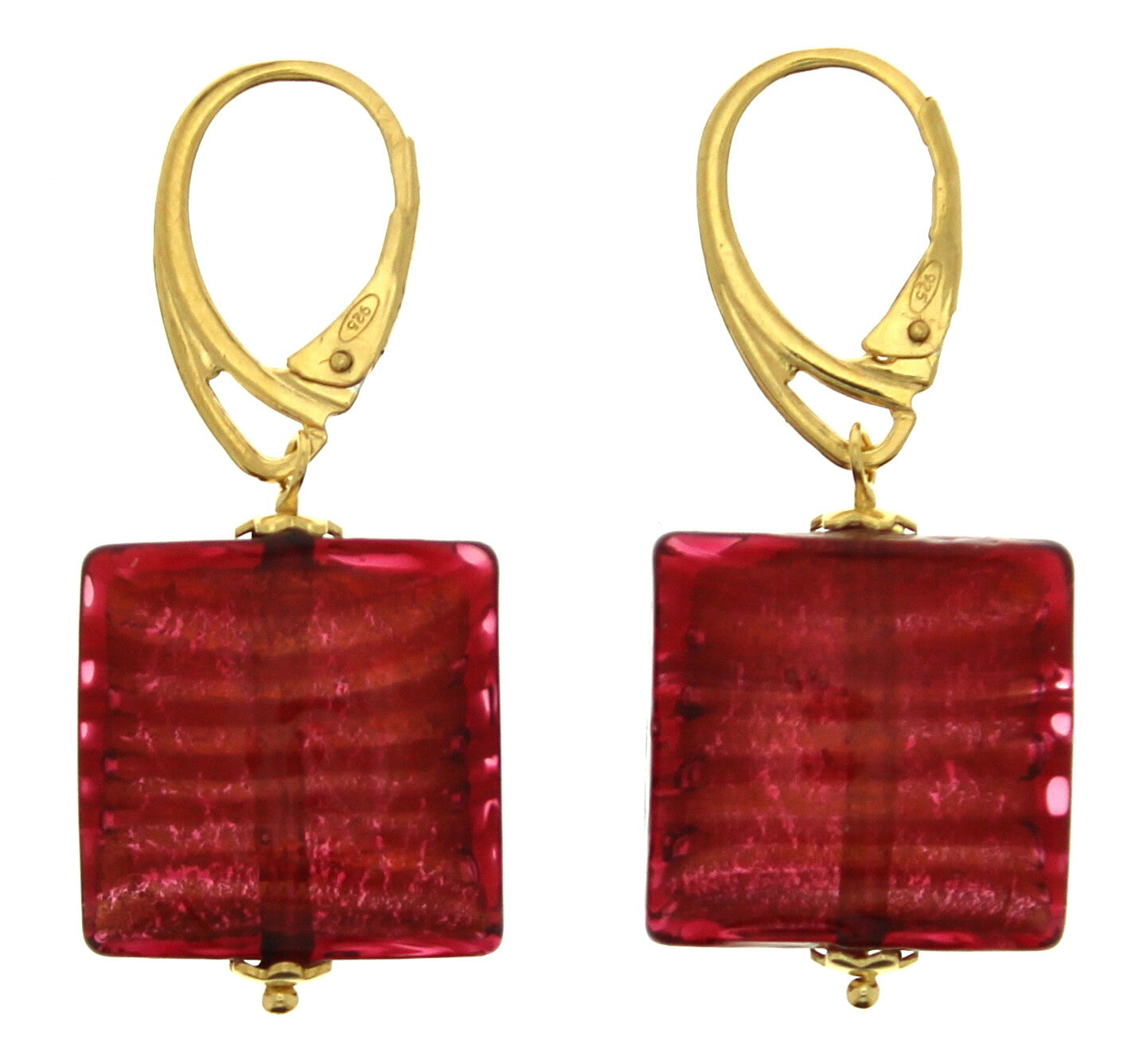 Murano Red Cushion Square Leverback Earrings