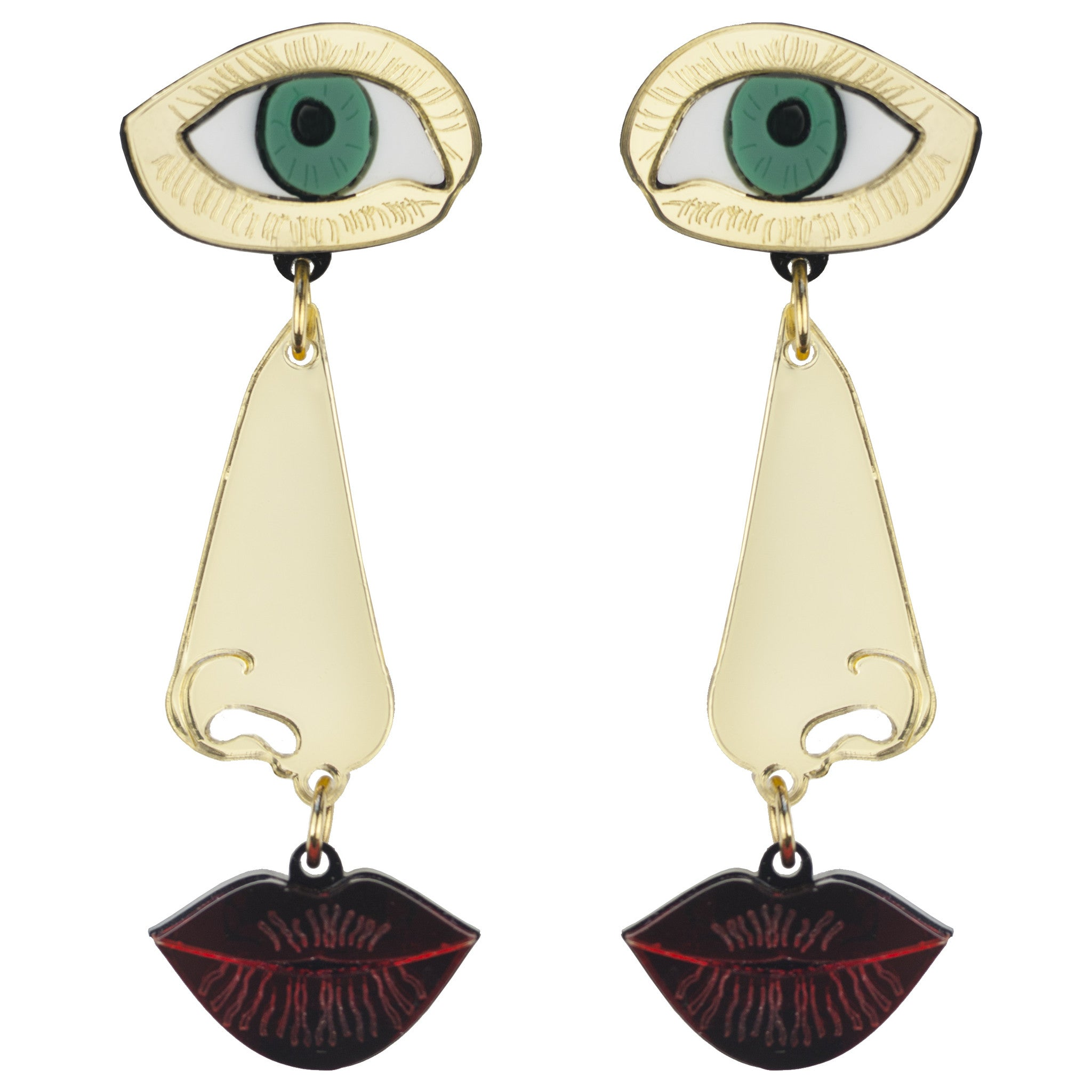 Eye, Nose and Lips Drop Earrings