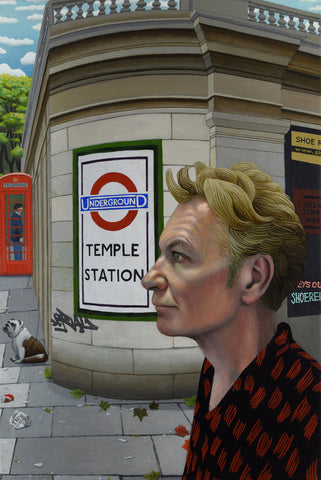 Julien Temple and Temple Tube Station, film-maker (unframed)
