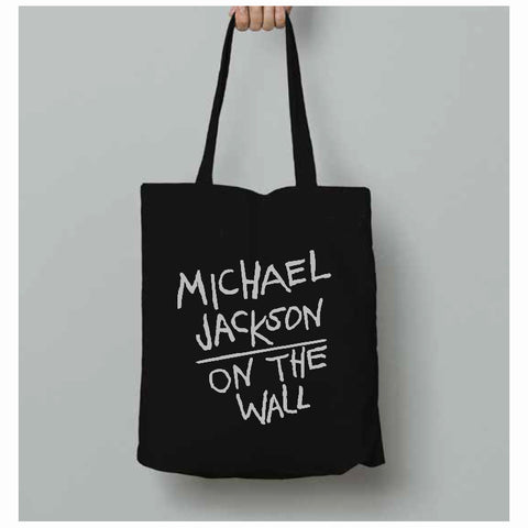 Michael Jackson On the Wall Black Tote Bag