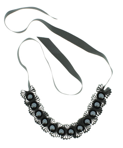 Black Ribbon & Pearl Necklace