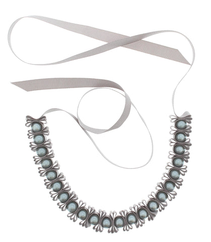 Grey Ribbon & Pearl Necklace