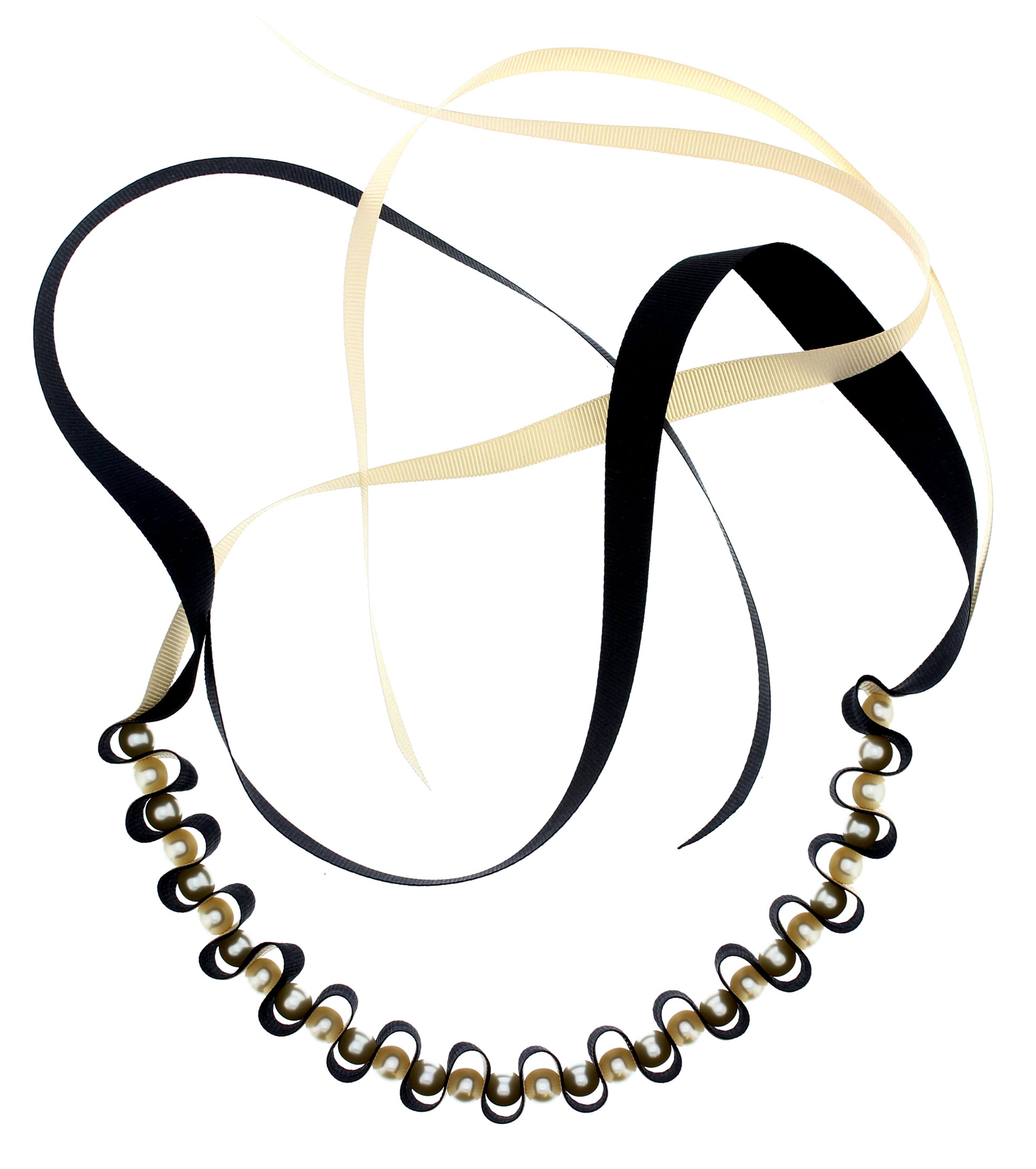 Black & Gold Ribbon & Pearl Necklace