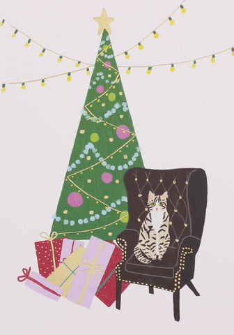 Cat and Tree Christmas Card 5 Pack