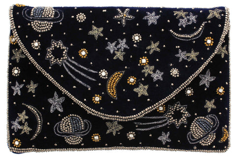 Velvet Constellation Clutch Bag