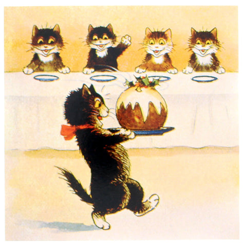 Pudding Kitty Christmas Card 5 Pack