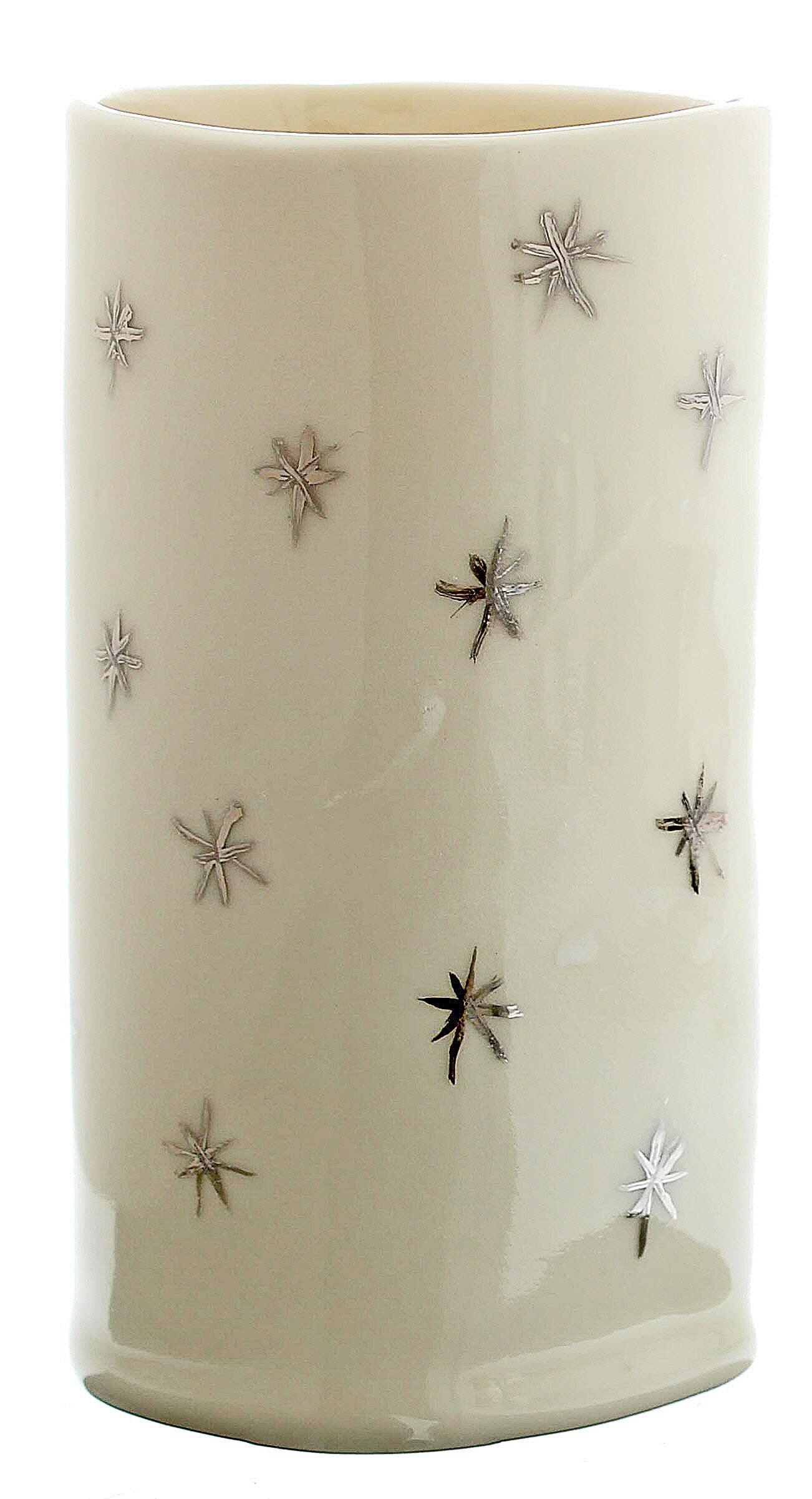Handmade White and Silver Porcelain Diana Vase