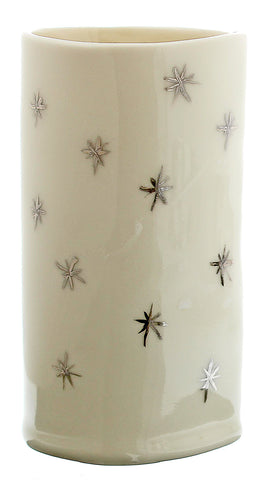 White and Silver Porcelain Vase