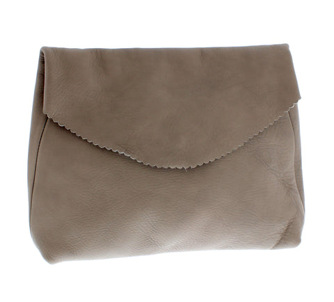 Large Grey Leather Clutch