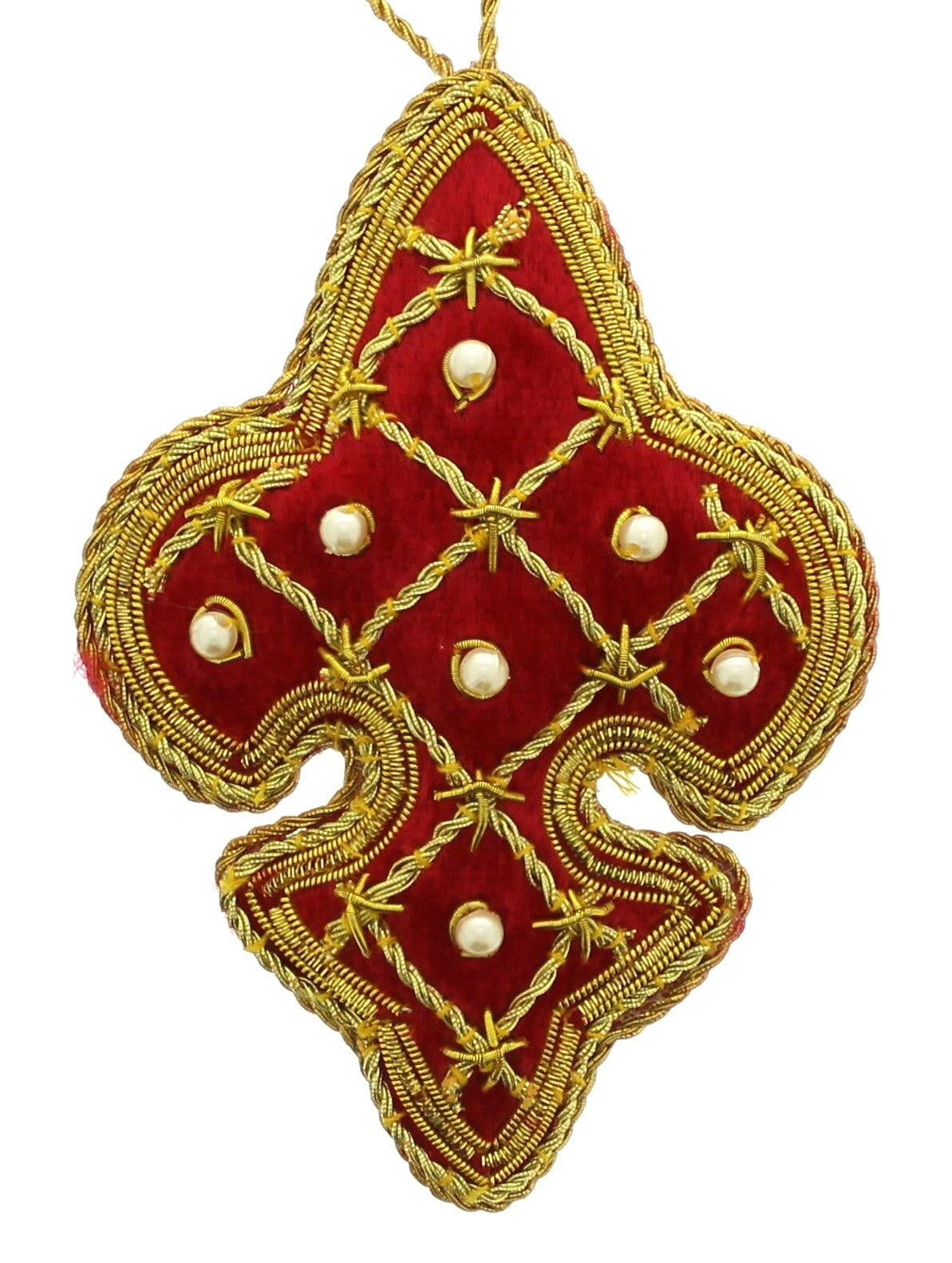 Red Tudor Lattice Fleur de lis Decoration