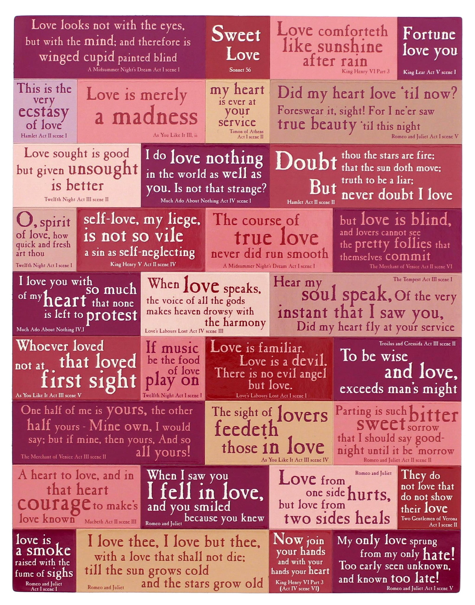 Shakespeare's Love Quotations Magnetic Set