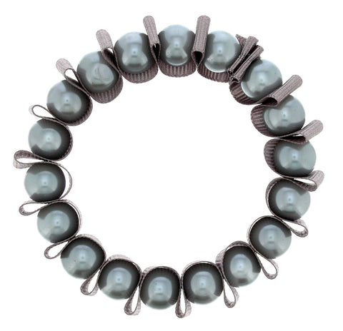 Grey Ribbon & Pearl Bracelet