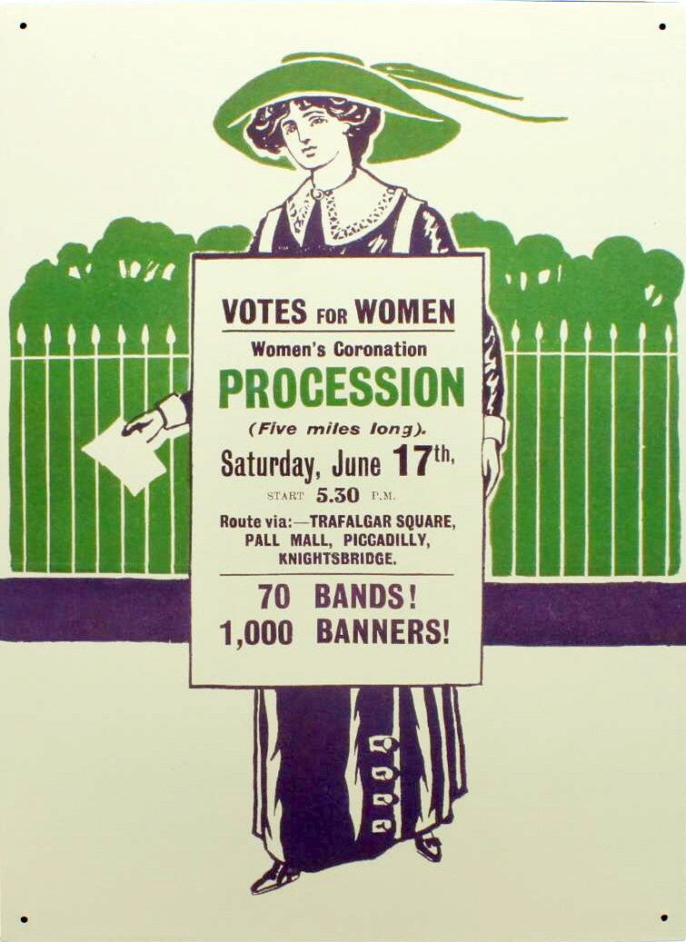 Votes for Women Large Tin Sign