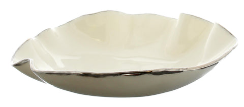 Handmade Small White and Silver Porcelain Tilly Bowl