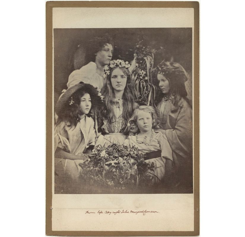 'May Day' (Kate ('Kittie') Keown; Mary Ann Hillier; Mary Ryan; William Frederick Gould and an unknown girl) NPG x18039 Portrait Print