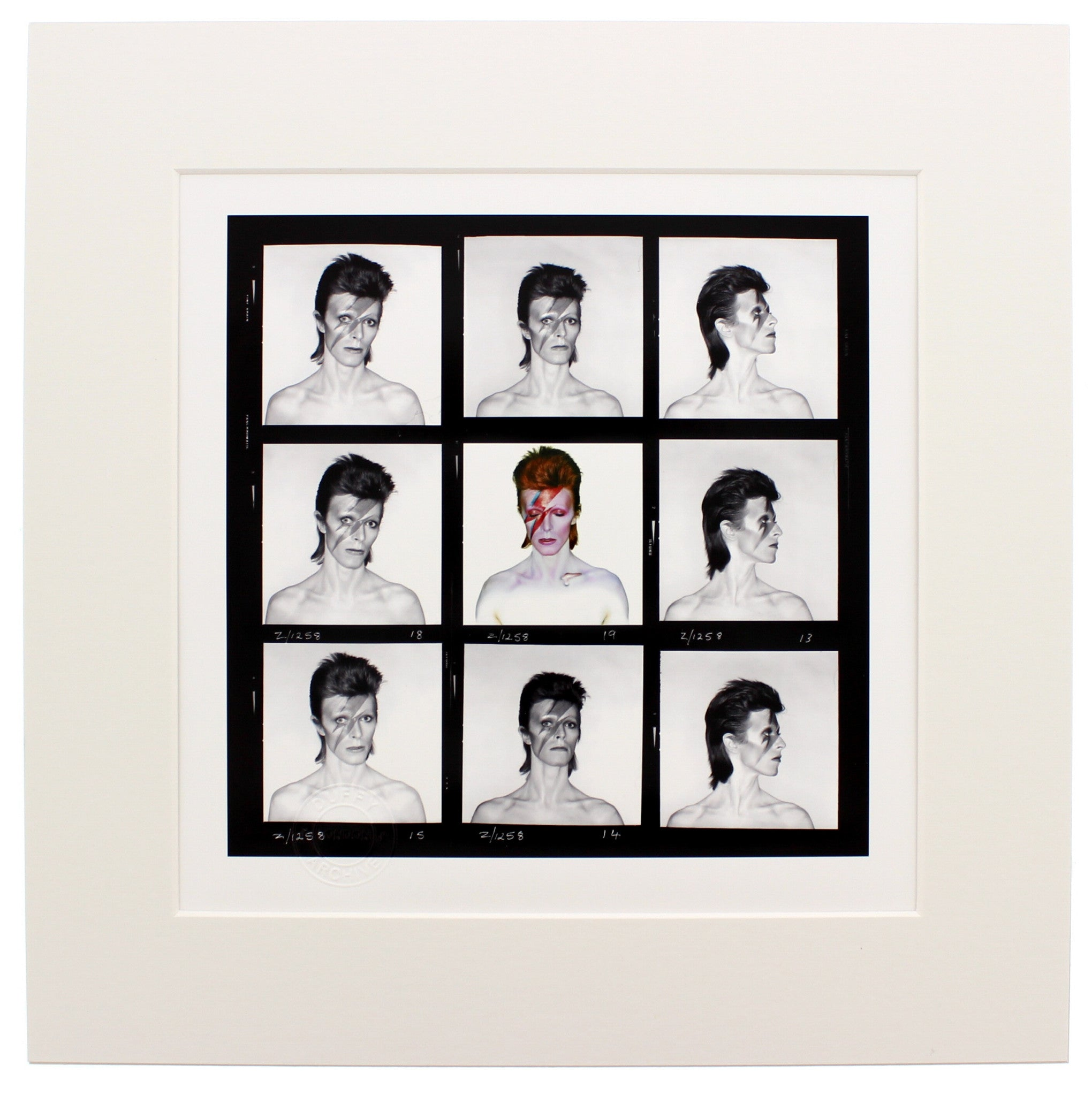 Aladdin Sane, 1973 Demi Contact Sheet Brian Duffy Archive Mounted Print in Black Wood Frame