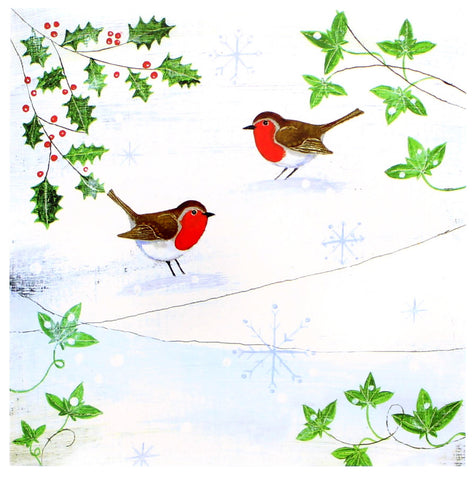 Robins in the Snow Christmas Card 5 Pack
