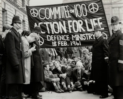 Anti-nuclear demonstrators including Michael Randle, Michael Scott; Bertrand Russell and Hugh MacDiarmid NPG x129580 Portrait Print
