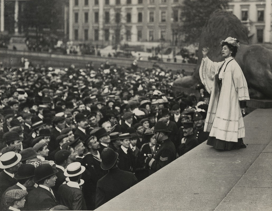Emmeline Pankhurst addressing a crowd in Trafalgar Square NPG x131784 Portrait Print