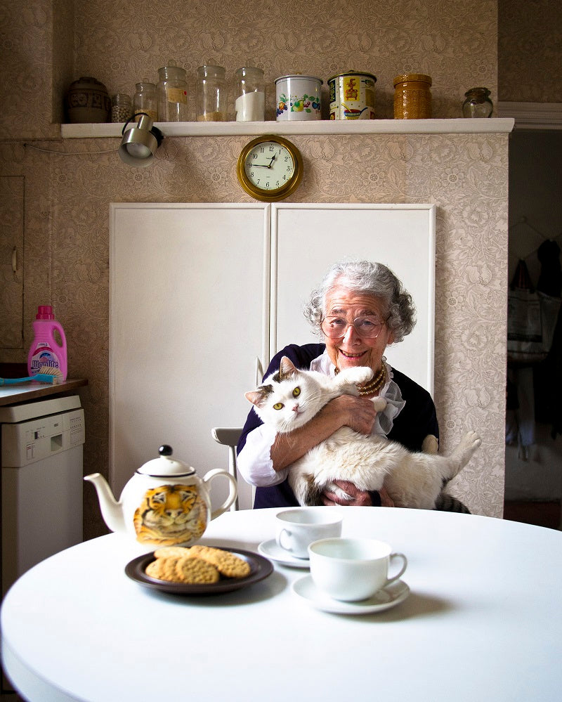 Judith Kerr with her cat Katinka NPG x135287 Portrait Print