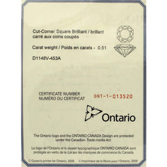 0.52 Ideal Cut Ontario Square Diamond in Contemporary Love Note