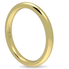 18K Fairtrade or Fairmined Certified Gold 2mm Wide Low Dome Band