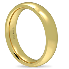 18K Fairtrade or Fairmined Certified Gold 4mm Wide Low Dome Band