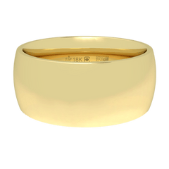 18K Fairtrade or Fairmined Certified Gold 8mm Wide Low Dome Band