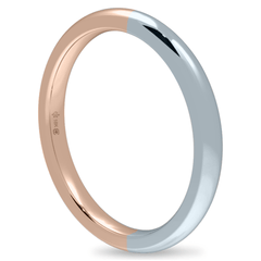 18K 2mm Bicolor Band-Equal Pink/White